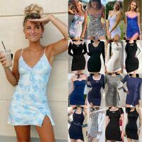 Women Mini Dress Sleeveless Long Sleeve Vest Tops Summer Holiday Beach Sundress
