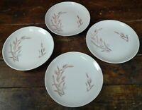 Set of 4 Bread Dessert Plates Gold Wheat on White Japan Pottery Dinnerware