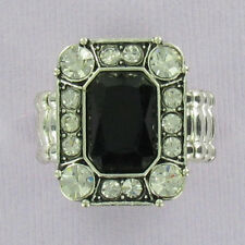 Black Rectangle Stretch Ring Fashion Bling Dinner Rhinestone Silver One Size NEW