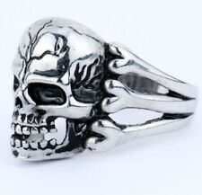 BAGUE CHEVALIERE BIKERS TETE DE MORT SKULL CRANE  Ring Man ROCK ANARCHY T 8