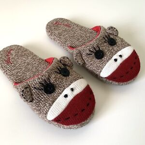 Nick & Nora Brown Sock Monkey House Slippers Slip-on Womens Size Small 5-6