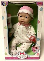 NEW JC Toys La Baby 16-inch Asian Girl Pink Floral Washable Baby Doll Berenguer