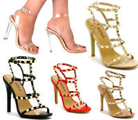 NEW LADIES WOMENS FETISH PARTY STILETTO HEEL PERSPEX CLEAR STRAPPY HIGH PLATFORM