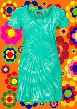 G723 ✪ HIPPIE BATIK mini abito Woodstock 70er ANNI BAMBINI FIORI VERDE TG. 38