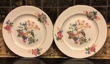 "EPIAG Czechoslovakia D. F. Floral Pattern China (2) 6.4"" Plates Gold Rims"