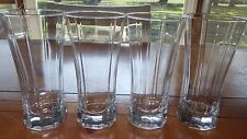 Heavy Crystal Drinking Glasses Paneled Tumblers Weighted Bottoms Optic 4 16oz