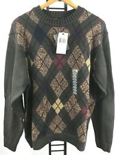Geoffrey Beene Sweater V-Neck Argyle Pattern Men Size M Medium New With Tags NWT