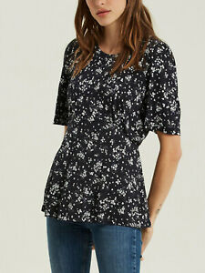 New Fat Face Black Floral Jersey Top Size 16