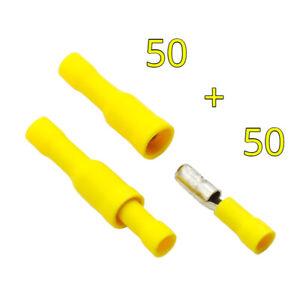 100x Elettrico Filo Terminali Crimpare Proiettile 5mm Connettori Giallo 50+50