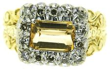 Ladies 18Carat 18ct yellow white gold diamonds Citrine rings size L1/2