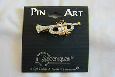 Spoontiques Pin Art Music Brooch Trumpet J1083 Austrian Crystal