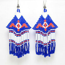 NEW BLUE BEADED HANDCRAFTED EAGLE NATIVE STYLE INSPIRED FASHION HOOK EARRINGS