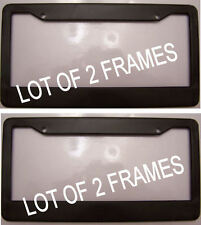 2 BLACK PLASTIC blank no advertisement or text ad License Plate Frame