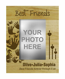 Personalized Best Friends Wood Engraved Picture Frame With Name-eX0