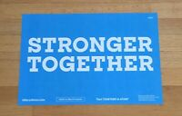 """Hillary Clinton Official Presidential Campaign Sign Placard """"Stronger Together"""""""