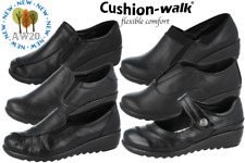 Ladies Cushion Walk Black Faux Leather Slip On Loafer Mary Jane Low Wedge Shoes