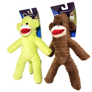 """2 Sock Monkey NEON & BROWN Fetch Chew Squeaky Dog Toy 9"""" Vibrant Life Cozy Buddy"""