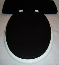 "Solid BLACK fleece Elongated Toilet Seat Lid and Tank Lid Cover Set 14"" x 18"""