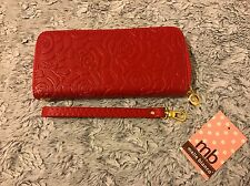 Women Faux Red Leather Rose Flower Embossed Pattern Wallet Clutch Melie Bianco