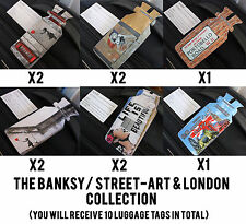BANKSY / STREETART & LONDON SET TRAVEL HOLIDAY BAG LUGGAGE LABEL TAGS ONE LOOP