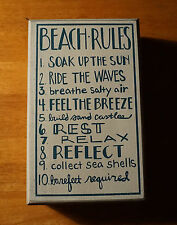 BEACH RULES SOAK UP SUN RIDE WAVES Rustic Coastal Nautical Home Decor Sign NEW