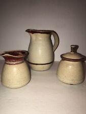 Pitcher Creamer & Sugar Bowl Studio Art Pottery Set Signed Sarasota, FL 3 pcs