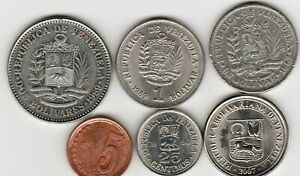 6 different world coins from VENEZUELA