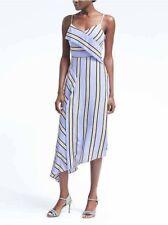 Banana Republic Women's Strappy Asymmetric Hem Striped Dress Size 12 Petite