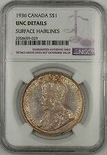 1936 Canada Silver $1 Dollar Coin NGC UNC Details Surface Hairlines