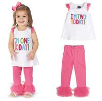 Mud Pie MK6 Birthday Baby Girl I'm 1, I'm 2, Party Tunic & Legging Set 1112291