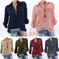 Women Fashion Plus Size Lapel V-Neck Blouse Sequins Pocket Solid Loose Top Shirt