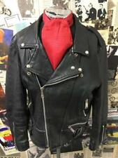 Vintage Leather Biker Jacket AMI London Black Motorcycle Rocker Punk Size Medium