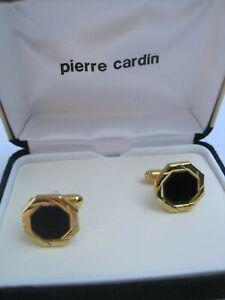 Pierre Cardin Cufflinks, Octagon Shape, Gold-Tone w/ Onyx Centers