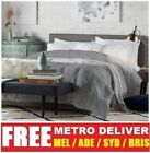 CARONA DOUBLE QUEEN KING SIZE GREY BEIGE BROWN LINEN FABRIC WOODEN BED FRAME