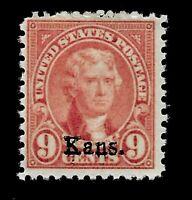 US 1929 Sc# 667- 9 c  Jefferson Kansas Overprint - Mint NH - Crisp Color