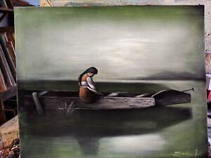 ALONE BY HEINRICH VISBERG Oil painting Black Velvet Canvas 23x19