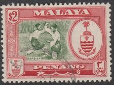 PENANG :1960 $2 bronze-green and scarlet SG 64  used