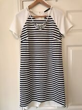 BNWT Ladies Atmosphere/Primark Nautical Stripe Dress UK Size 12 Necklace