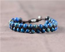 Natural Blue Sea Sediment Jasper Gemstone Beaded Stacking Leather Bracelet