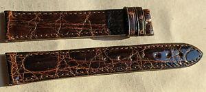 Genuine CARTIER 17mm x 16mm Leather Strap Band BROWN ALLIGATOR
