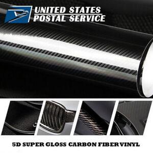 "4.7 "" x 60 "" 5D Premium HIGH GLOSS Black Carbon Fiber Vinyl Wrap Sticker Decal"