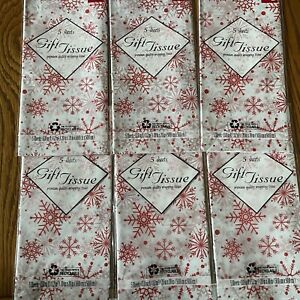 6pk (5-sheets each pk) Christmas Tissue Paper Red Snow Flakes 30sheets