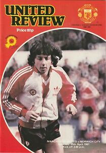 Manchester United v Norwich 1981 - Division One