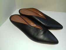 NEXT mules size 7 black leather pointed toe low heel shoes smart