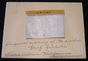 Airship Graf Zeppelin Fin Fabric - Clara Adams Prepared - First US Flight 1928