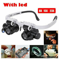 23X Magnifier Magnifying Eye Glass Loupe Jeweler Watch Repair LED Light Tool UK