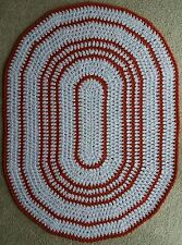 HAND MADE, DOUBLE  CROCHET, DECOR OVAL AREA RUG 98cm x 71 cm