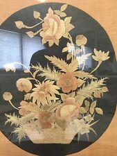Tenture Broderie Ancien XIX Charles X Empire Tapisserie French Fleur Cadre
