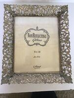 "Vintage 8"" x 10"" Gold Ornate Metalcraft Photo Picture Frame #800 Whitewash Gold"
