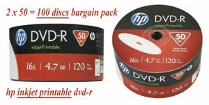 OPENED PACKS 100 Genuine HP White Inkjet Printable DVD-R 16x 4.7GB Blank Discs
